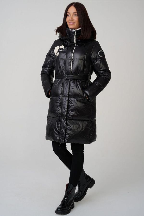 Зимний пуховик с мехом шоколадный