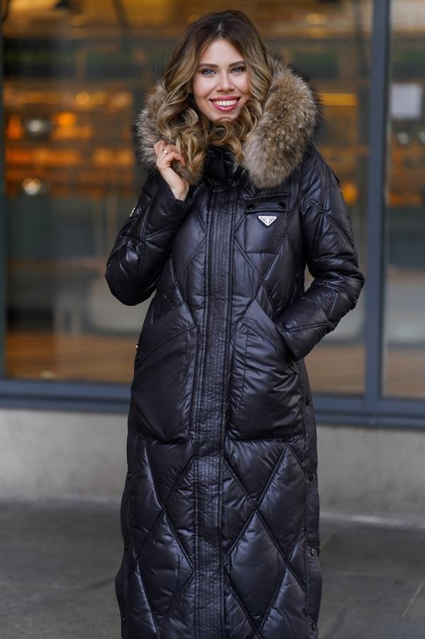 Теплый женский пуховик приталенный брендовый