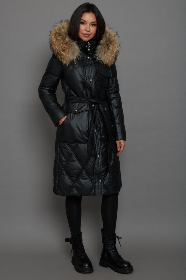 Длинный пуховик брендовый женский черный