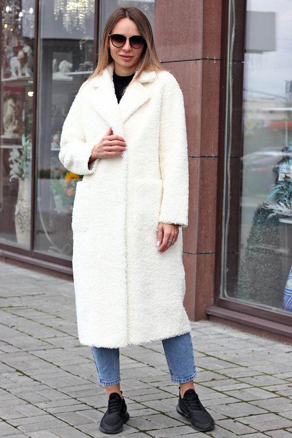 Экошуба из овечьей шерсти белая